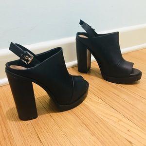 Zara Black Leather Platform Strap Mule Boots